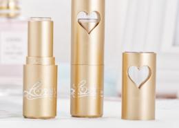 heart lipstick bottle gold