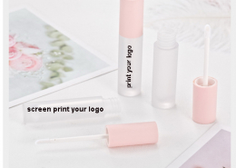 matte round tube with baby pink cap