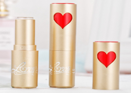 red heart lipstick bottle gold