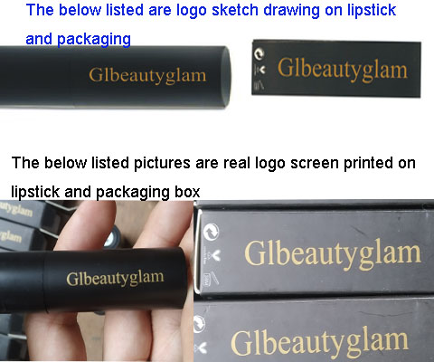 logo sketch drawing and real logo done on lipstick and package box