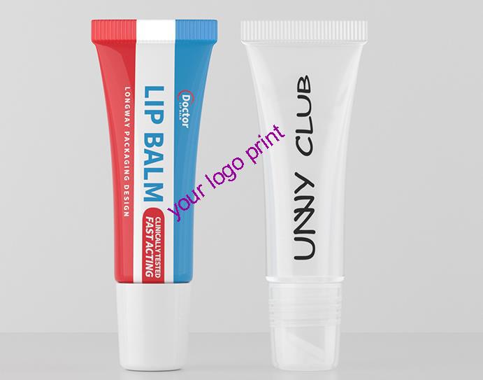 custom lip gloss squeeze tube logo printing