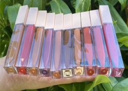 private label lip gloss matte liquid square tube pink cap