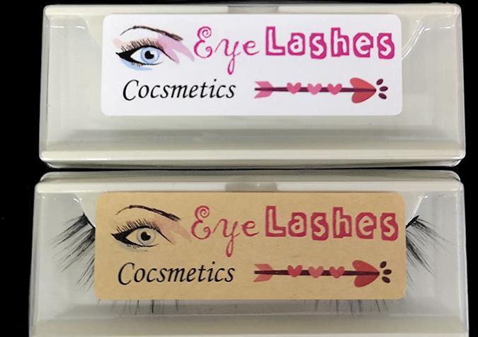white labels sticker eyelash
