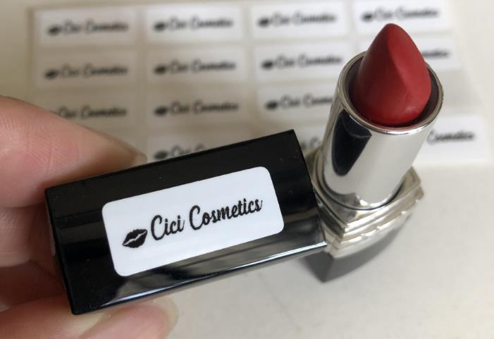 white labels stickers on lipstick