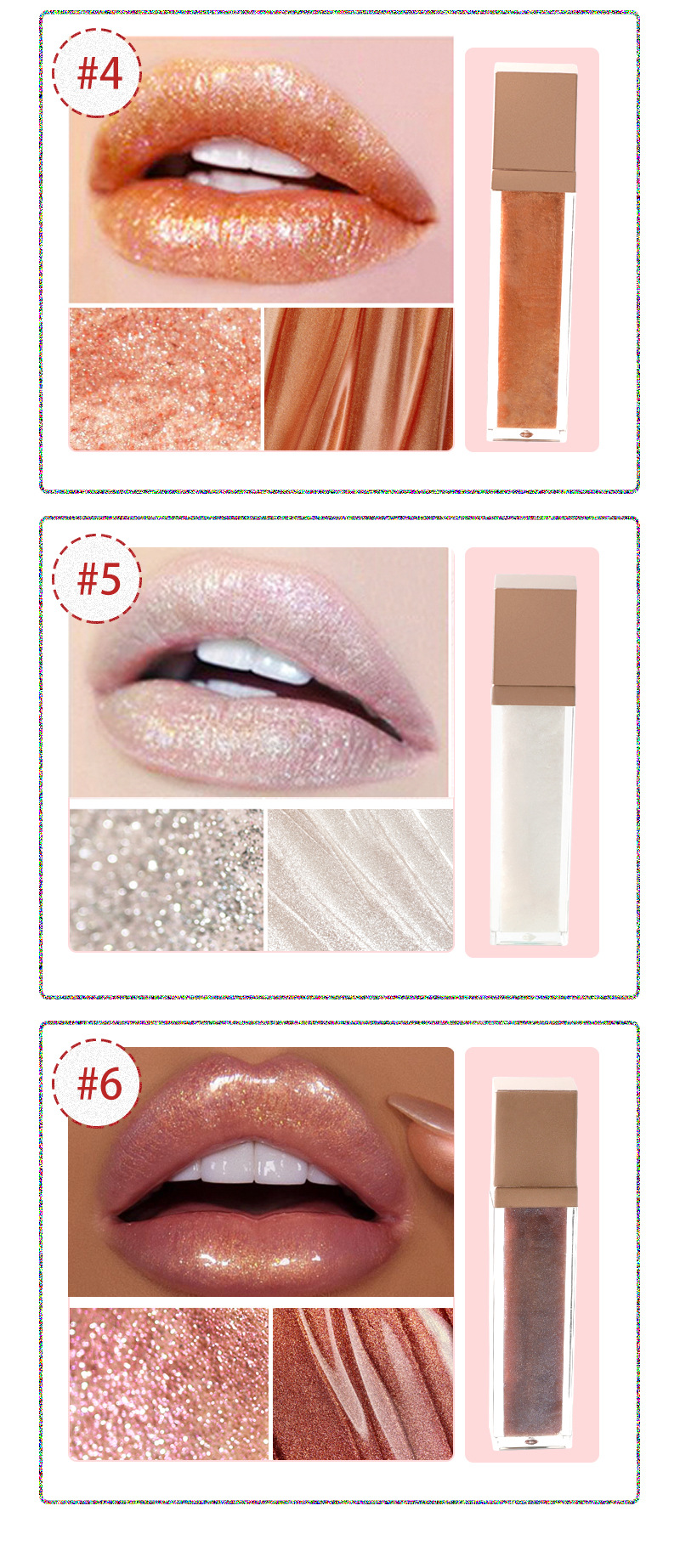 pearlescent lip gloss lip swatches