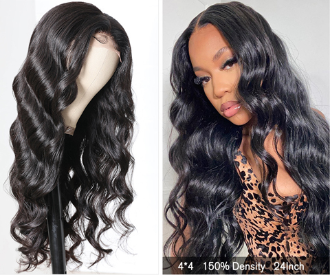real human hair lace wig wearing shows